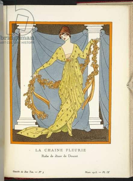 """COPYRIGHT ? H. Robert Dammy (French, born around 1890) """"La Chaine Fleurie - Robe de dîner de Doucet en taffetas glacé à dessin de petites roses à l'ancienne."""