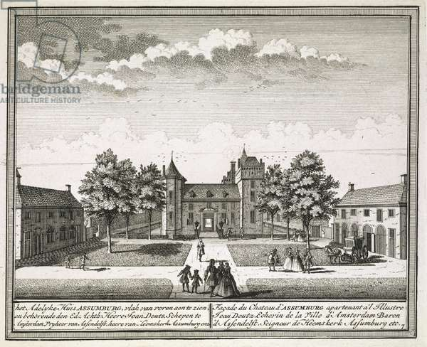 View of Slot Assumburg near Heemskerk, with groups of elegant figures and carriage on the grounds in the foreground; inscribed with plate number and title below.