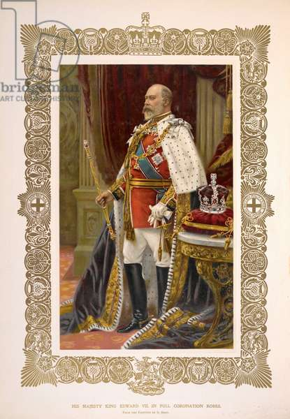 His Majesty King Edward VII in full coronation robes'. From the painting by S. Pegg.