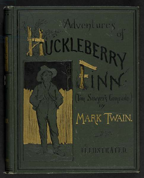Front cover of 'Adventures of Huckleberry Finn'; Tom Sawyer's comrade ... With one hundred and seventy-four illustrations. Samuel Langhorne Clemens, 1885 (leather)