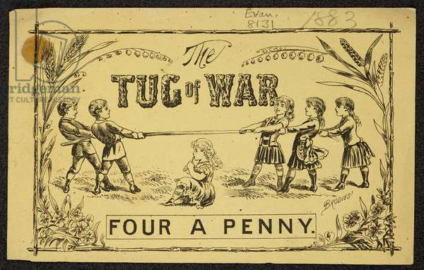 Advert for the Tug of War sweets, 1883 (engraving)