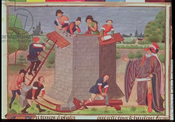 Cott Aug V fol.22  Building the Tower of Babel, miniature from 'Le Tresor des Histoires' (vellum)
