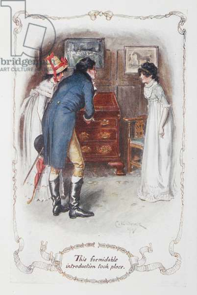 This formidable introduction took place', Georgina Darcy and her brother, Fitzwilliam Darcy, with Elizabeth Bennet, illustration to 'Pride and Prejudice' by Jane Austen, 1907 (colour litho)