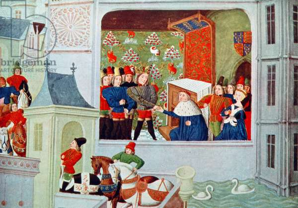 Harl 4380 f.117 Interview of Richard II and the Duke of Gloucester in Pleshy Castle, from 'Froissart's Chronicle', 1470-75 (vellum)