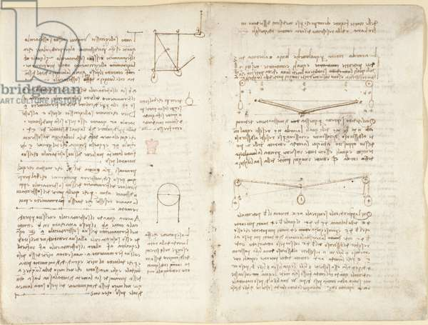 Arundel 263, f.11v, f.4 Notes and diagrams on mechanics, from 'Codex Arundel', 1508 (pen & ink on paper)