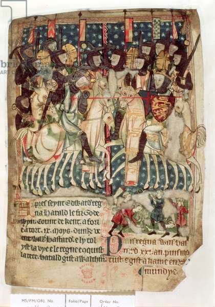 Cott Vitt A XIII f.3v William killing Harold at the Battle of Hastings, from the 'Decrees of Kings of Anglo-Saxon and Norman England' (vellum)