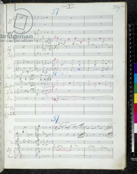Add. 58004, f.107, from 'Autograph manuscript of Variations on an Original Theme - Enigma', by Edward Elgar, 1898-99 (pen & ink on paper)