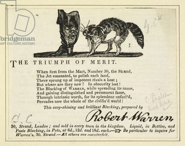 Advertisement for Warren's Blacking Warehouse with cat crest. Pencil inscription G. Ck., with additional note: 'C. Dickens lived here' (engraving)