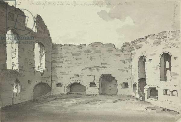 Bamburgh Castle, kitchen ruins, Add. 15542, f.180, c.1780 (pen & ink wash on paper)