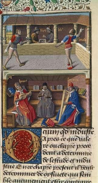 Harley 4375, fol.151v Games of chess and pelota, from 'Les faits et les dis des romains et de autres gens' or 'Memorabilia', 1473-80 (vellum)