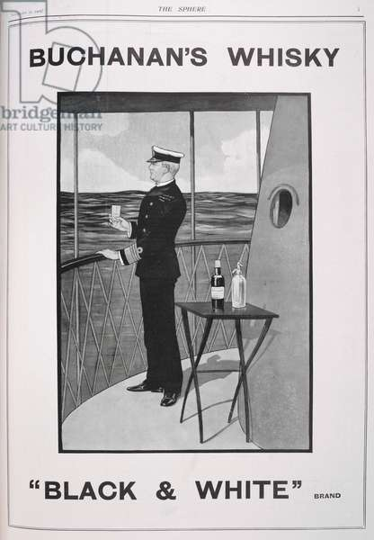 """Advertisement for Buchanan's whisky: """"Black & White"""" brand. A naval officer having a drink."""