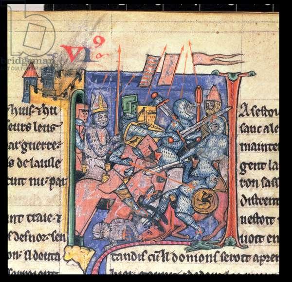 Yates Thompson 12 f.29 Battle scene outside Antioch, c.1098 (vellum)