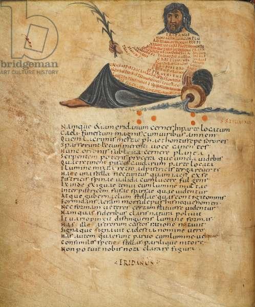 Harley 647, fol.10v Illustration of the constellation Eridanus, and text, c.820-40 (vellum)