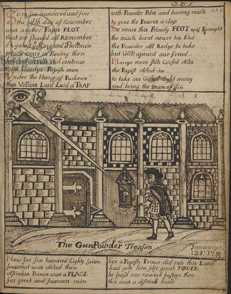 Pen and ink drawing depicting the Gunpowder Plot of 1605.