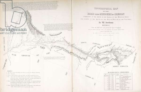 Oregon Trail Section 4, Topographical Map of the Road from Missouri to Oregon, 1846 (engraving)