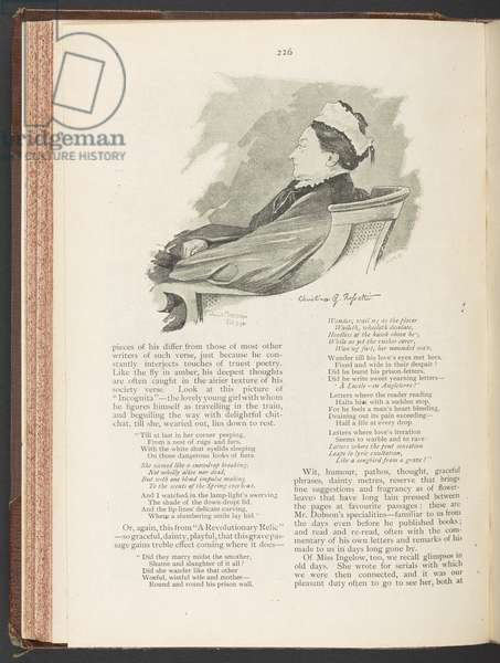 Portrait of Christina Rossetti, page 226 from 'Cassell's Family Magazine', February 1895 (litho)