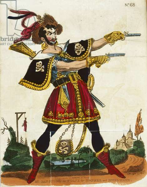 Mr Ransford as Wolfe the robber and murderer, frontispiece from 'The Wonderful life of Wolfe...' published by Fairburn, London, c.1830 (colour litho)