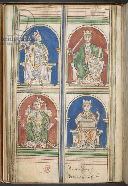 Cotton Claudius D VI f.9v Four Kings of England: Henry II, Richard I, John and Henry III from The Kings of England from Brutus to Henry III, by Matthew Paris, c.1250-59 (vellum)