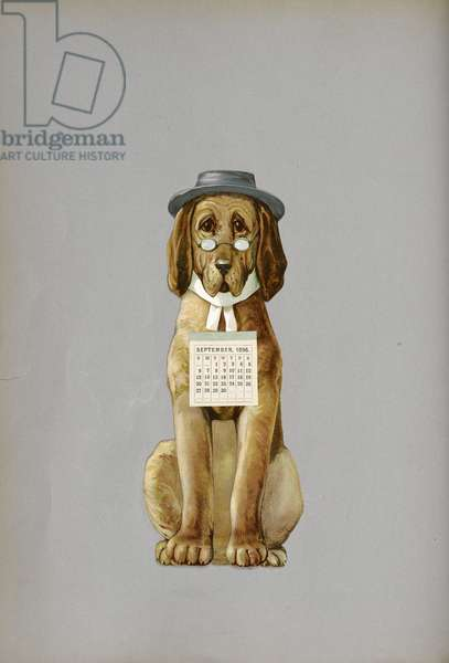 A dog, calendar page for September 1896, from 'Pleasant Surprises for Folks of all Sizes', [In verse. With illustrations.], 1892 (colour litho)