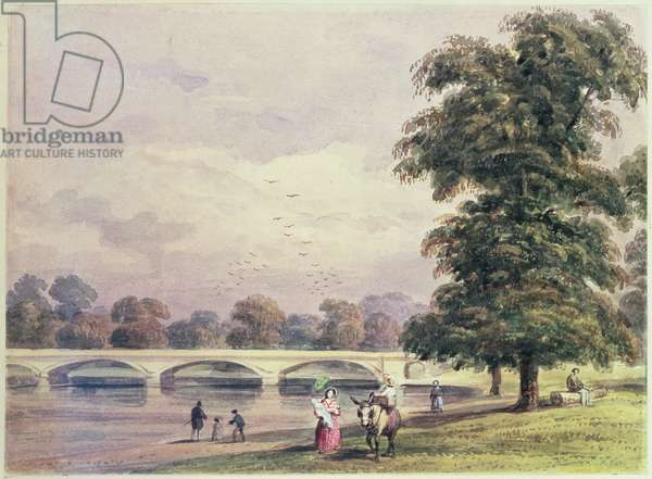 The Bridge between Kensington Gardens and Hyde Park on the Serpentine, 1840 (print)