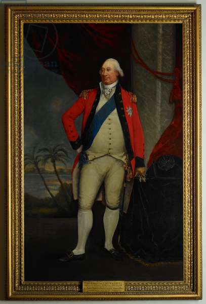 Charles Cornwallis, 1st Marquis (1738-1805), Governor-General of Fort William, 1786-93 and again July-October 1805. Painted 1792-93. A life-size figure, turned partly towards the spectator's left, with the right foot slightly advanced, and right hand resting on the hip. The left, gloved, and holding a glove, rests upon a table by his side, on which is placed his hat. He wears a red coat, light-coloured waistcoat and breeches, white stockings, and black shoes with gold buckles. The Garter is seen on his left leg, and the ribbon and star on his breast. A red curtain draped behind is drawn aside, revealing an Indian landscape with palm trees.