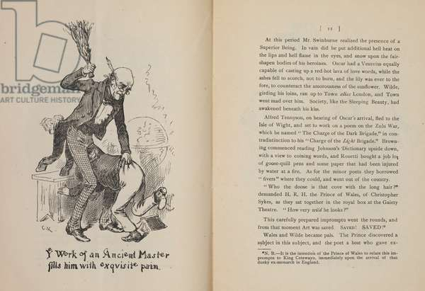 Ye work of an ancient master fills him with exquisite pain'. Caricature showing Oscar Wilde being thrashed with a birch.