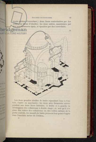 Isometric drawing of Hagia Sophia, 'Sainte-Sophie de Constantinople', Fig. 13 from Page 49 of Volume 2, 'Histoire de l'architecture', by Auguste Choisy, 1899 (litho)