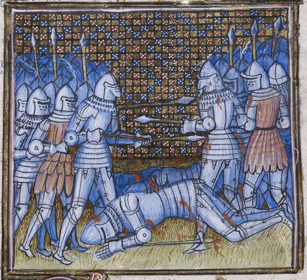 Add. 38659 fol.170 Death of Sir John Chandos. A medieval battle, illumination from 'Chroniques de France et D'Angleterre' by Jean Froissart (vellum)