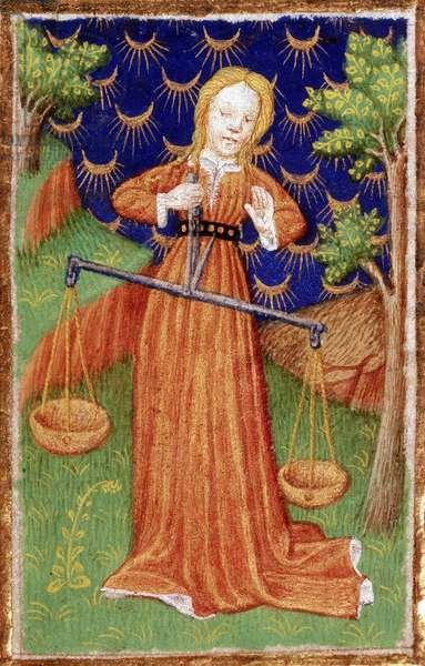 """Septembre: le signe zodiacal de la balance. Miniature tiree de """"""""The Bedford Book of Hours"""""""" (Livre d'heures de Bedford) realise a l'occasion du mariage de Jean, Duc de Bedford et frere du roi Henry V en 1423, Paris. The British Library Institution Reference: Shelfmark ID: Add 18850 Folio No: 9 (detail) A woman in a garden holding a pair of scales, 1423. Possibly a representation of the zodiac sign Libra. From """"""""The Bedford Hours"""""""" (Missal) calendar of festivals made for the Duke of Bedford. ©The British Library Board/Leemage"""