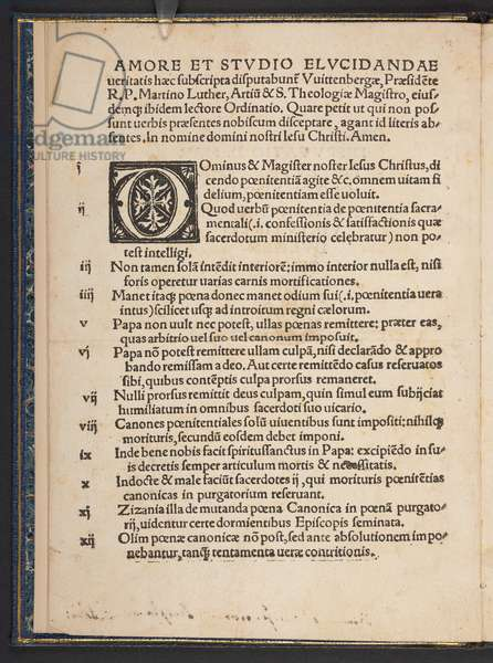 Page 2 from 'Disputatio D. Martini Luther Theologi, pro declaratione virtutis indulgentiarum', first edition of Martin Luther's 95 Theses, Wittenberg, 1517 (print)
