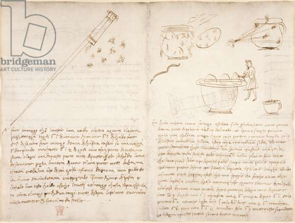 Arundel 263, f.258v, f.261 Notes and crude sketch on making fireworks (not in Leonardo's hand), from 'Codex Arundel' (pen & ink on paper)