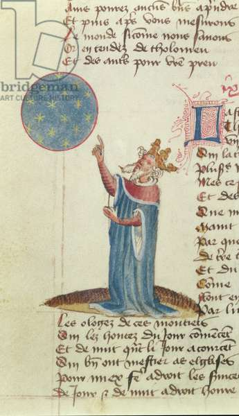 Harley MS 334 fol.95v The astronomer, Ptolemy, mistakenly depicted as a king (vellum)