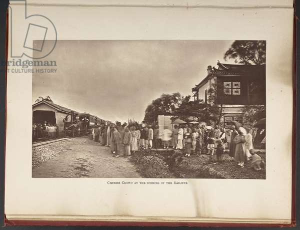 Chinese Crowd at the Opening of the Railway, p.102 from 'Remunerative Railways for new countries; with some account of the first railway in China...', by Richard C. Rapier, 1878 (b/w photo)