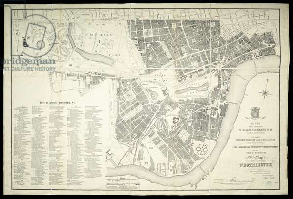 Map of the city and liberty of Westminster. By Thos. Cooke. [With] List of public buildings [cartographic material], 1847 (engraving)