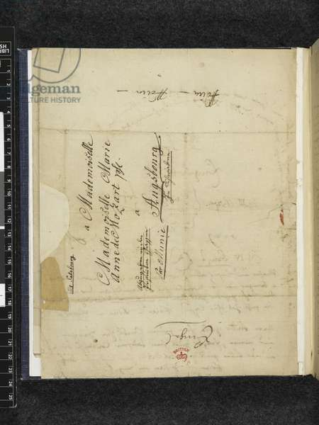 Zweig 67 f.2v Letter to Maria Anna Thekla Mozart, 1779 (ink on paper)