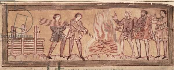 Cott Tib B V f.8 Warming and smithying, c.1030 (vellum)