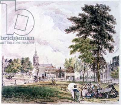 Islington Green: View towards the Church (print)
