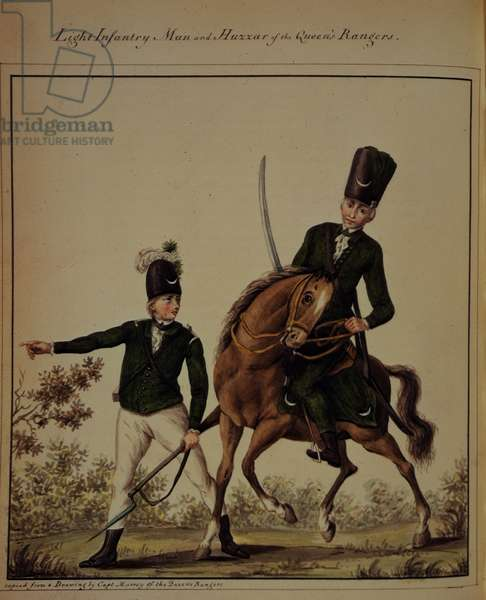 A British Light Infantryman and a Hussar during the American Revolution, from 'A Journal of the Operations of the Queen's Rangers from the end of 1777 to the Conclusion of the Late American War' by John Graves Simcoe, 1787 (colour litho)