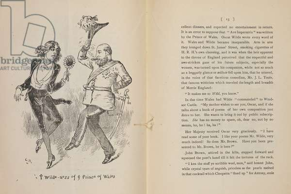 Wilde-ness of ye Prince of Wales'. A caricature of Oscar Wilde and the prince of Wales.