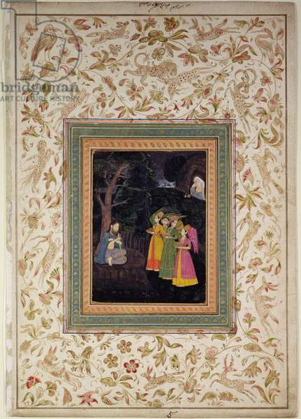 Sultan Ibrahim Adham of Balkh with Angels, Johnson Album VI, no.5, c.1770-80 (gouache with gold on album leaf)