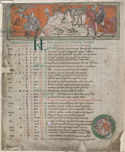 Hunting with the falcon, from an 'Anglo-Saxon Calendar' (vellum)
