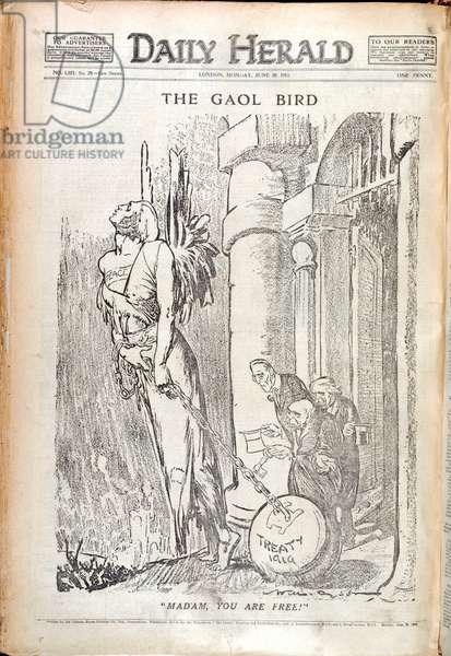 'The Gaol bird'. A newspaper cartoon relating to the peace treaty ending the First World War.