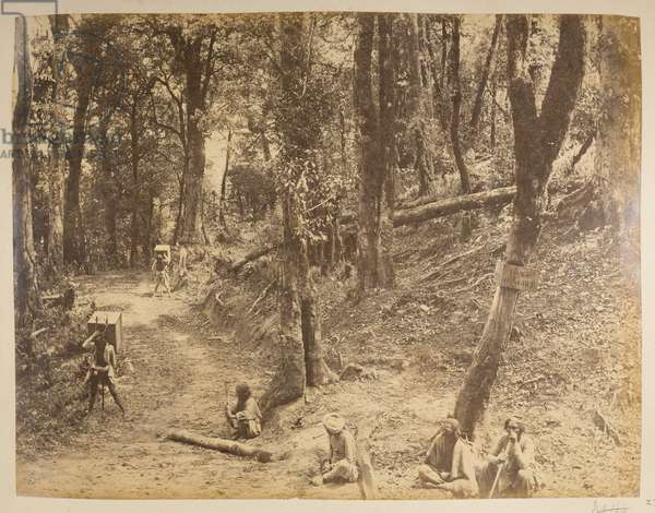 Junction of the roads to Sukrah, Rungbee, Gulle, etc., from 'Views of Darjeeling', 1870's (b/w photo)