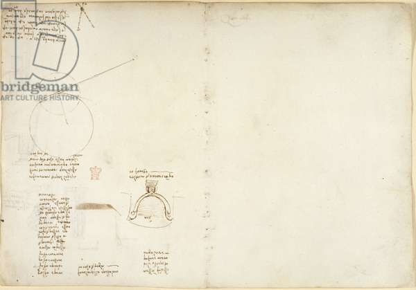 Arundel 263, f.47, f.56, Note and diagram on geometry (proportional compass); diagram on mechanics; a sulphur-based formula; a sketch of Leonardo's observation of a dyeing boiler ('caldaia dei tessitori con poco fuoco'), c.1499-1500 (pen & ink on paper)