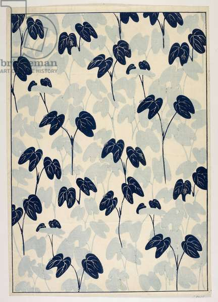 Japanese Floral design, illustration from 'The Olga Hirsch collection of decorated papers' (colour woodblock print)