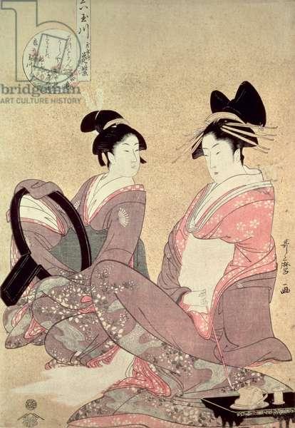 The Courtesan Hana-Murasaki (colour woodblock print)