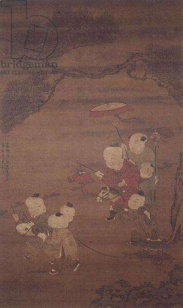 Boys at play, Ming Dynasty (ink and colour on silk)