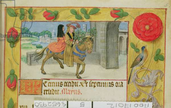Add 17012 f.5 Man on horseback with his wife riding pillion, from a Book of Hours, c.1500