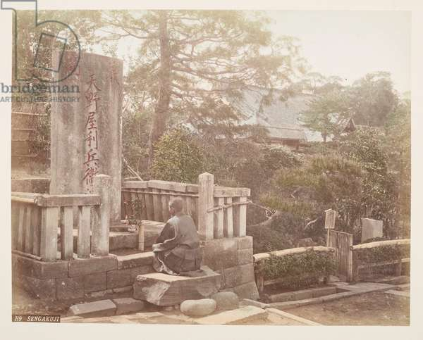 Sengakuji, from A Book of Coloured Photographs of views in Japan, 1895 (coloured photo)