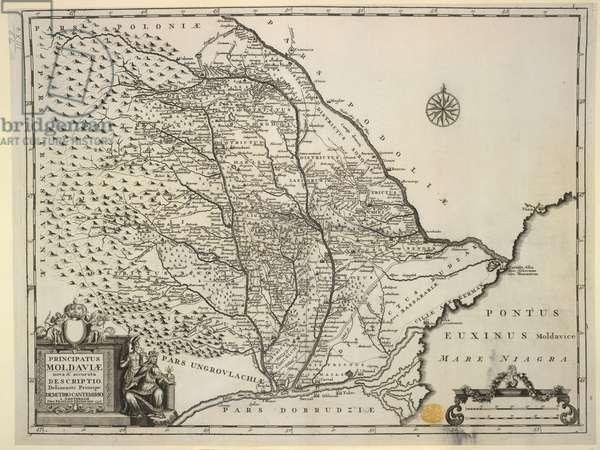 Map of Moldavia, 'Principatus Moldaviae, nova & accurata descriptio', by Demetrio Cantemirio, 1737 (engraving)
